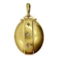 Victorian Large 18k Gold Diamond Locket
