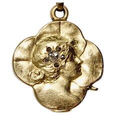 Fine Art Nouveau Austro-Hungarian Lucky Lady Clover Sliding Pendant Locket - Vienna