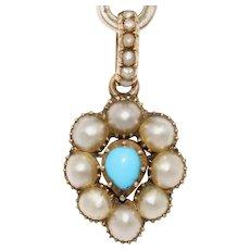 Antique Georgian Pearl Turquoise Heart Charm Pendant