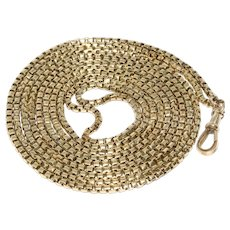 Victorian 9K 55.5 Inch Box Link Longuard Chain Necklace