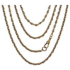 Victorian 68 Inch Fancy Barrel Link Longuard Chain Necklace 9K Gold