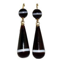 Victorian 15K Banded Agate Dangle Drop Earrings