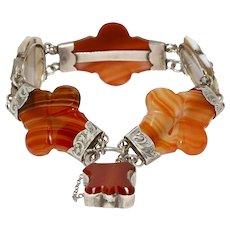 Victorian Scottish Agate Silver Bracelet