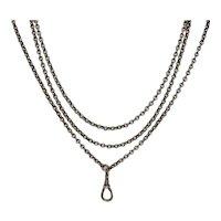 Victorian Silver Longuard Chain Necklace
