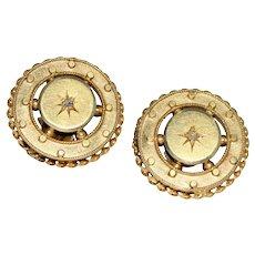Victorian Rose Diamond Stud Earrings 15/9K Gold