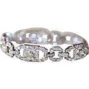 Fine Art Deco French Platinum Diamond Bracelet est 5.6 carats - Circa 1930