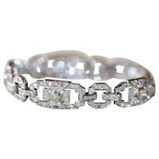Fine Art Deco French Platinum Diamond Bracelet est 5.6 carats - Circa 1930