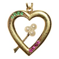 Antique Ruby Emerald Pearl Heart Charm Pendant