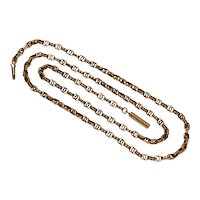 Antique Victorian 21 Inch Fancy Link 9K Rose Gold Chain Necklace