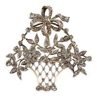 Antique 19th Century Diamond Giardinnetto Flower Basket Pendant Brooch Pin