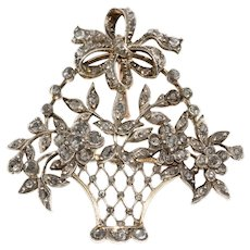 Antique 19th Century Diamond Giardinnetto Flower Basket Pendant Brooch Pin