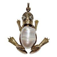 Edwardian 15K Diamond Pearl Frog Charm Pendant
