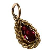 Victorian Garnet 18K Gold Charm Pendant