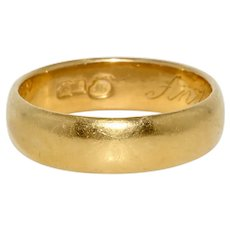 Imperial Russian 23K Gold Wedding Band Ring Dated 1915