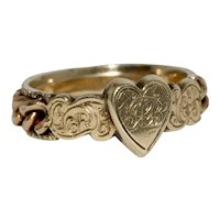 Antique Victorian Initial Heart Chain Ring