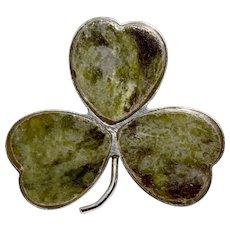 Antique Irish Connemara Marble Silver Shamrock Brooch Pin