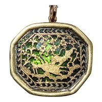 Antique Ratlam India Gold Over Glass Pendant Charm