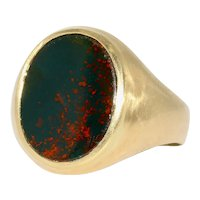Antique Victorian Bloodstone Signet Ring Dated 1878