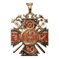 Antique Masonic Scottish Rosslyn St Clair Medal Pendant