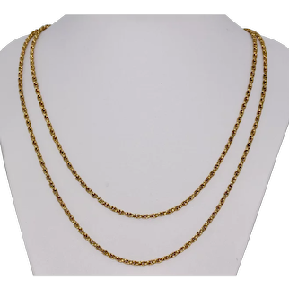 Victorian 15K 44 Inch Rope Link Chain Necklace