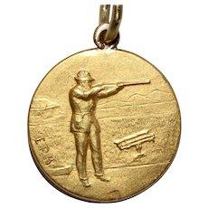 Vintage 18K Rifle Shooting Medalion Charm