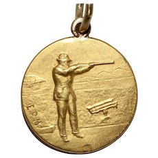 * Reserved* Vintage 18K Rifle Shooting Medalion Charm
