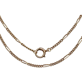 Antique 18K Gold 30 Inch Figaro Link Chain Necklace