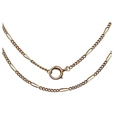 Antique 30 Inch Figaro Link  18K Gold Chain Necklace