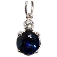 Vintage 14K White Gold Natural Sapphire Diamond Pendant Charm
