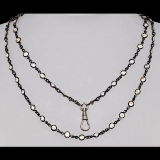 Antique Gunmetal Paste Long Muff Chain With Silver Niello Dog Clip