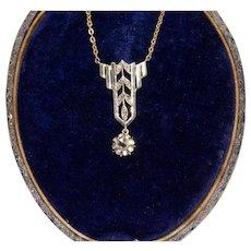 Art Deco Rose Cut Diamond Pendant Necklace