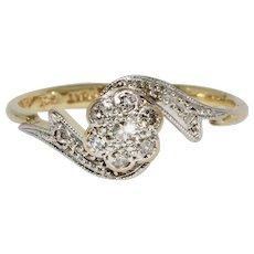 Art Deco Diamond Daisy Cluster Bypass Ring