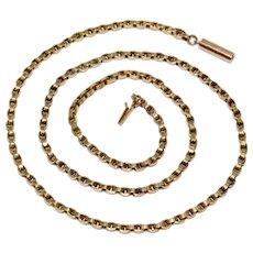 Antique Victorian 16.5 Inch 9K Gold Secret Link Chain Necklace