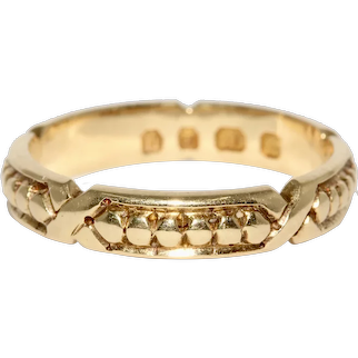 Fabulous Antique Victorian 18K Wedding Band Ring Dated 1895