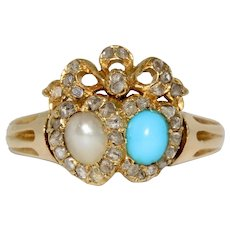 Antique Victorian 18K Double Heart Turquoise Pearl Diamond Ring
