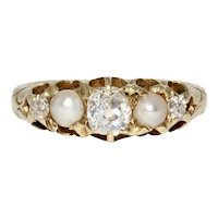 Victorian Old Mine Cut Diamond Natural Pearl 5 Stone Half Hoop Stacking Ring Dated 1888