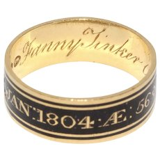 Georgian Memorial Enamel Band Ring For George And Fanny Tinker Dated 1803