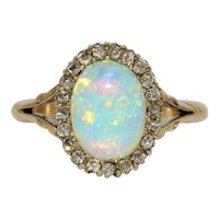 Exquisite Victorian Opal Diamond Cluster Ring