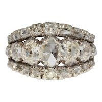 Stunning Antique 3.29 carat 7 Stone Triple Row Diamond Half Hoop Stacking Ring 1840's