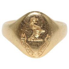 Vintage English 18K Signet Ring Dated 1934