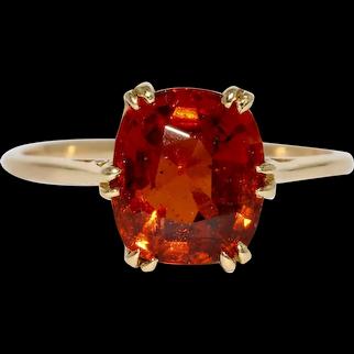 Art Deco Hessonite Garnet Solitaire Ring