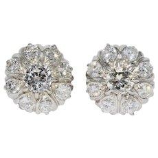 Vintage Est 1.8 Carat Diamond Platinum Stud Earrings