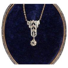 Art Deco 14K Rose Cut Diamond Pendant Necklace