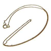 Antique 17.5 Inch 14K Cable Link Yellow Gold Chain Necklace