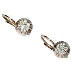 Antique Austro-Hungarian Old Cut Diamond Dormeuse Earrings
