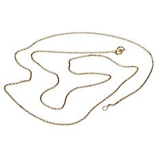 Vintage English 20 Inch 9K Cable Link Chain Necklace
