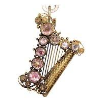 Fine Georgian Regency Natural Pink Topaz Harp Pendant