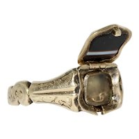 Victorian Mourning Memorial Locket Banded Agate ring Dated 1848