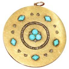 Large Victorian Turquoise Rose Cut Diamond 15K Disc Pendant