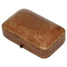 Antique Leather Brooch Pin Jewelry Box